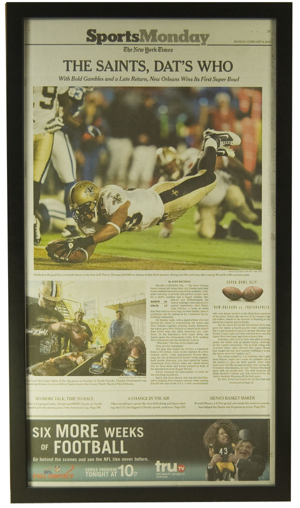 "New Orleans Saints win SuperBowl LXIV. Frame #601 Matte Black 3/4"". Price $42.95 as configured"