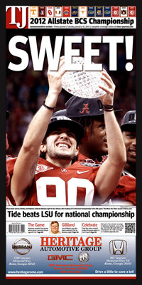 "Newspaper Frame. Alabama Wins 2012 National Championship. Frame #203 Matte Black 1 3/16"". Price $46.95 as configured"