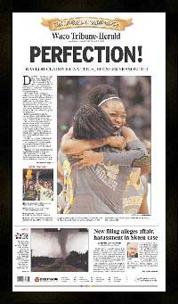 "Newspaper Frame. Baylor Wins 2012 Women's College BB Championship. Frame #203 Matte Black 1 3/16"". Price $46.95 as configured"
