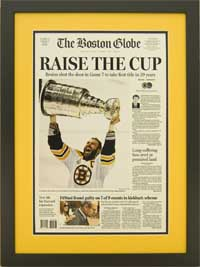 "Newspaper Frame. Boston wins 2011 Stanley Cup. Frame #203 Matte Black 1 3/16"". Outer Mat Golden, Inner Mat Black Belt. Price $120.95 as configured"