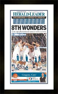"Newspaper Frame. Kentucky Wins 2012 College BB Championship. Frame #203 Matte Black 1 3/16"". Outer Mat White Sale, Inner Mat Royal Blue. Price $115.95 as configured"