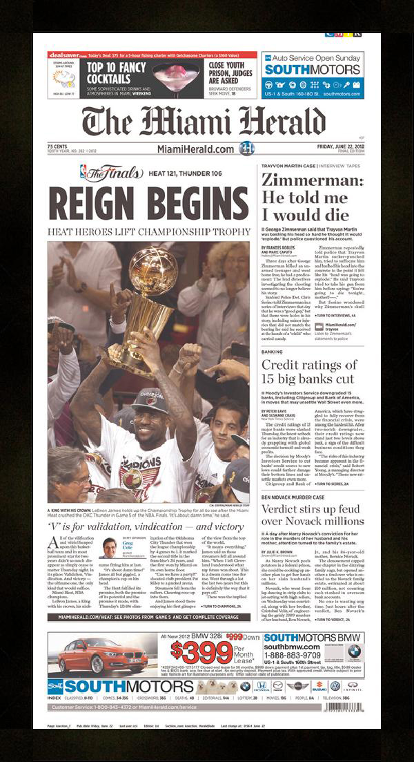 "Newspaper Frame. Miami Wins 2012 NBA Championship. Frame #203 Matte Black 1 3/16"". Price $46.95 as configured"