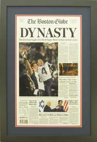 "Newspaper Frame. Patriots with 2005 Super Bowl. Frame #203 Matte Black 1 3/16"". Outer Mat Deep Blue, Inner Mat Red Hot. Price $120.95 as configured"