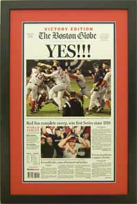 "Newspaper Frame. Boston wins  2004 World Series. Frame #203 Matte Black 1 3/16"". Outer Mat Red Hot, Inner Mat Blue Night. Price $120.95 as configured"