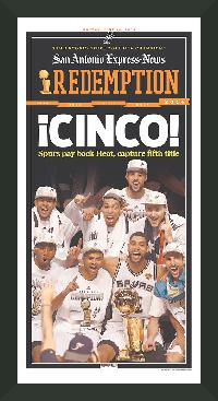 "Newspaper Frame. San Antonio Wins 2014 NBA Championship. Frame #203 Matte Black 1 3/16"". Price $46.95 as configured"