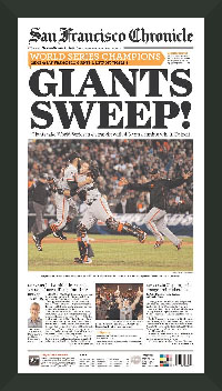 "Newspaper Frame. San Fransisco Wins 2012 World Series. Frame #203 Matte Black 1 3/16"". Price $43.95 as configured"