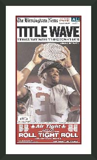 "Newspaper Frame. Alabama wins 2013 National Championship. Frame #207 Matte Black 1 1/2"". Outer Mat White Sale, Inner Mat Rare.  Price $131.95 as configured"