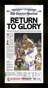"Newspaper Frame. Kentucky Wins 2012 College BB Championship. Frame #207 Matte Black 1 1/2"". Price $50.95 as configured"