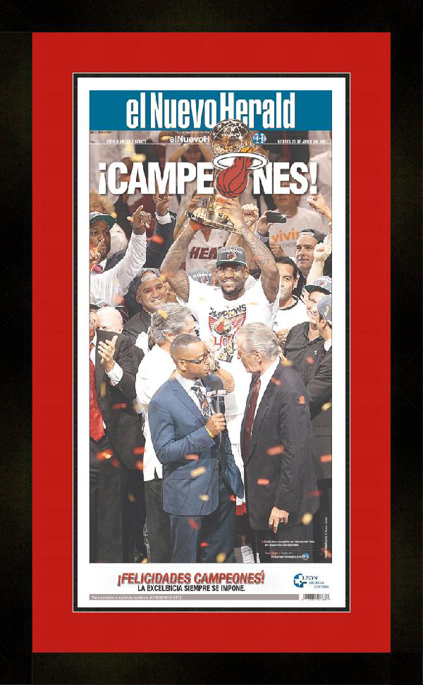 "Newspaper Frame. Miami Wins 2012 NBA Championship. Frame #207 Matte Black 1 1/2"". Outer Mat All American Red, Inner Mat Black Belt.  Price $131.95 as configured"