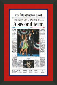 "Newspaper Frame. Obama Wins 2012 Presidential Election. Frame #207 Matte Black 1 1/2"". Outer Mat All American Red, Inner Mat Flag Blue.  Price $131.95 as configured"