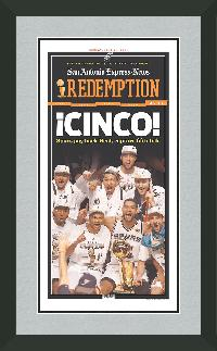 "Magazine Frame. San Antonio Wins 2014 NBA Championship. Frame #207 Matte Black 1 1/2"". Outer Mat Silver Star, Inner Mat Black Bel7. Price $131.95 as configured"