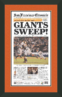 "Newspaper Frame. San Fransisco Wins 2012 World Series. Frame #207 Matte Black 1 1/2"". Outer Mat Deep Orange, Inner Mat Black Belt.  Price $107.95 as configured"