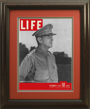"Magazine Frame. Life Magazine, December 8, 1941 - General MacArthur. Moulding #235 2"" Dark Cherry Burl. Red Hot (#9899) top mat, Photo Gray (#1019) bottom mat. Price $95.95 as configured"