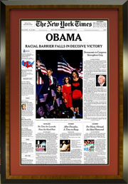 "Newspaper Frame. Obama NY Times Newspaper Frame. Frame #236. Board Room Honey Pecan Veneer 1 1/2"". Price $163.95 as configured"