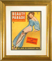 Magazine Frame. 1940s Beauty Parade. Frame #266 Cross Hatched Gold w/Thin gray stripe. Outer Mat #918 Very White. Inner Mat #921 Black. Price $88.95 as configured