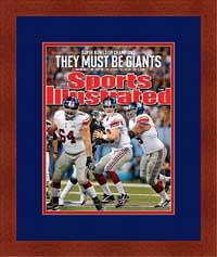 "Magazine Frame. NY Giants Win SuperBowl 2012. Frame #664 Dark Mahogany 1 3/16"". Outer Mat Pharoah, Inner Mat Code Red. Price $72.95 as configured"