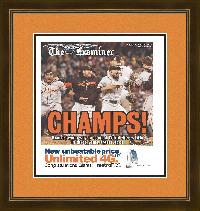 "Newspaper Frame. San Fransisco Wins 2012 World Series. Frame #692 Coffee Brown 1 3/8"". Outer Mat Deep Orange, Inner Mat Black Belt.  Price $98.95 as configured"