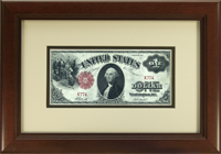 "Currency Frame. 1917 $1 Large Bill. Moulding #693 1 3/8"" Cherry . Antique White (#3293) top mat, Black (#923) bottom mat. Price $59.95 as configured"