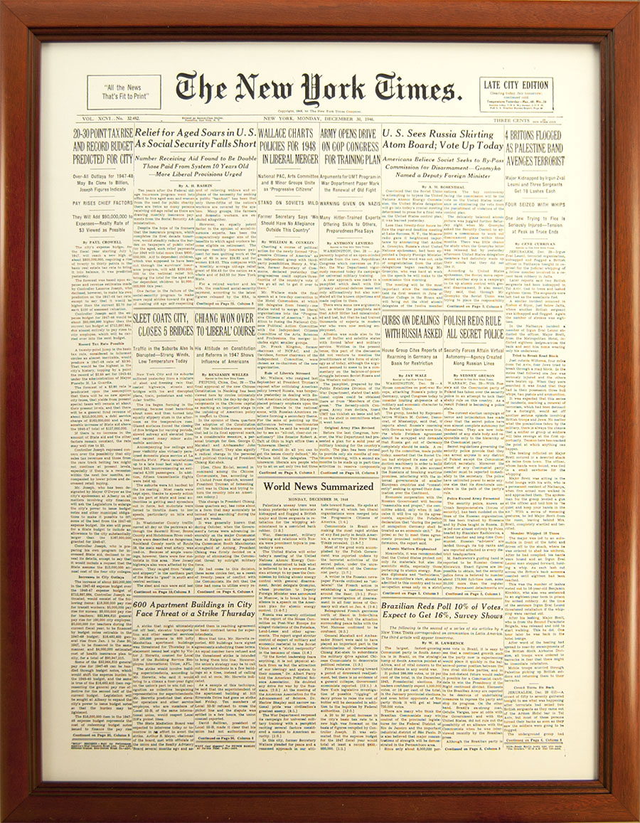 newspaper display picture frame new york times cover reprint frame 695 cherry 1