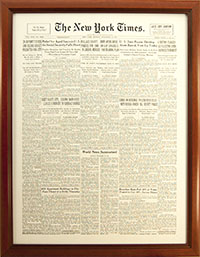 Newspaper Display Picture Frame. New York Times Cover Reprint. Frame #695 Cherry 1 3/8""