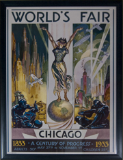 "Poster Frame. Framed Chicago Worlds Fair Poster Frame #697 1 3/8"" Blue."