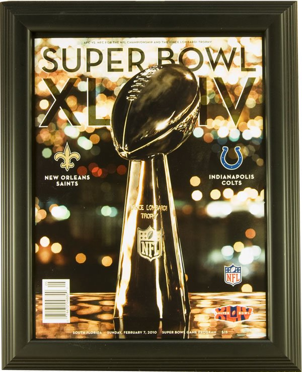 "Magazine Frame. Super Bowl XLIV Program. Frame #803 1 1/8"" Stepped Black Price $30.95 as configured"