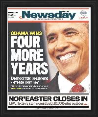 "Newspaper Frame. Obama Wins 2012 Presidential Election. Frame #803 Matte Black 1 1/8"". Price $35.95 as configured"