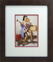 "Pinup Frame. Framed Elvgrin Pinup. Frame #885 Winston Walnut Veneer 1 3/8"", Outer Mat Very White, Inner Mat Red. . Price $84.95 as configured"