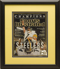 "Magazine Frame. Pittsburgh Steelers win the Superbowl. Frame #803, Outer Mat Chamois Gold, Inner Mat Black. Matte Black 1 1/8"". Price $72.95 as configured"