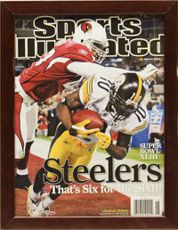 "Magazine Frame. Pittsburgh Steelers win the Superbowl. Frame #625 3/4"" Glossy Mahogany. Price $27.95 as configured"