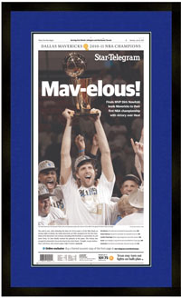 "Newspaper Frame. Dallas wins 2011 NBA Chamionship. Frame #203 Matte Black 1 3/16"". Outer Mat Blue Chip, Inner Mat Black Belt. Price $115.95 as configured"