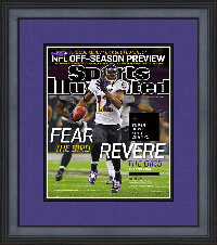 "Magazine Frame. Baltimore wins Super Bowl XLVII. Frame #201 Reverse Matte Black 1 1/2"". Outer Mat Dark Purple, Inner Mat Black Belt.  Price $75.95 as configured"