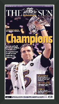 "Newspaper Frame. Baltimore wins Super Bowl XLVII. Frame #203 Matte Black 1 3/16"". Price $43.95 as configured"