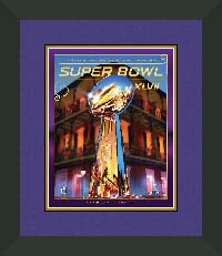 "Magazine Frame. Super Bowl XLVII Program. Frame #207 Matte Black 1 1/2"". Outer Mat Dark Purple, Inner Mat Gold Rush.  Price $72.95 as configured"