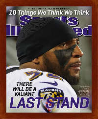 "Magazine Frame. Ray Lewis Last Stand Super Bowl XLVII. Frame #631 Cherry  3/4"". Price $27.95 as configured"