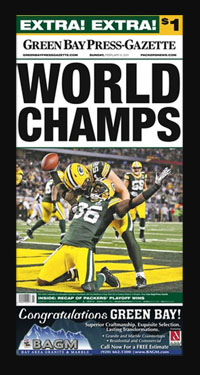 "Newspaper Frame. Green Bay wins Super Bowl LXV. Frame #203 Matte Black 1 3/16"". Price $46.95 as configured"