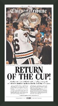 "Newspaper Frame. Chicago Wins 2013 Stanley Cup. Frame #203 Matte Black 1 3/16"". Price $43.95 as configured"