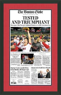 "Newspaper Frame. Boston wins 2011 Stanley Cup. Frame #203 Matte Black 1 3/16"". Outer Mat Red Hot, Inner Mat Blue Night. Price $120.95 as configured"