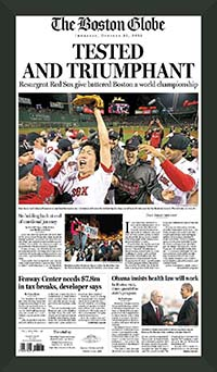 "Newspaper Frame. Boston wins 2013 World Series. Frame #203 Matte Black 1 3/16"". Price $46.95 as configured"
