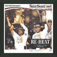 "Newspaper Frame. Miami Wins 2013 NBA Championship. Frame #203 Matte Black 1 3/16"". Price $32.95 as configured"