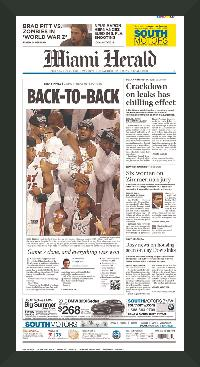 "Newspaper Frame. Miami Wins 2013 NBA Championship. Frame #203 Matte Black 1 3/16"". Price $43.95 as configured"