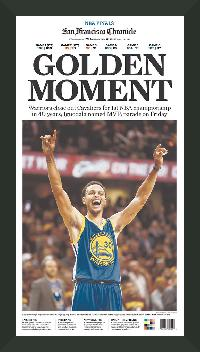 "Newspaper Display Frame. Golden State Warriors Win 2015 NBA Championship. Frame #203 Matte Black 1 3/16"". Price $46.95 as configured"