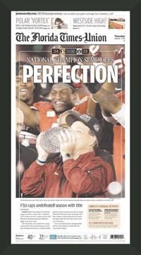 "Newspaper Frame. Florida State Wins 2014 BCS Championship. Frame #203 Matte Black 1 3/16"". Price $46.95 as configured"