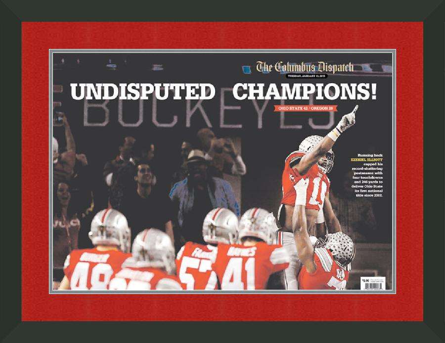 "Newspaper Display Frame. Ohio State Wins 2015 CPF Championship. Frame #207 Matte Black 1 1/2"". Outer Mat Code Red, Inner Mat Steel Drum.  Price $136.95 as configured"