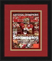 "Magazine Frame. Florida State Wins 2014 BCS Championship. Frame #201 Reverse Matte Black 1 1/2"". Outer Mat Rare, Inner Mat Gold Rush.   Price $81.95 as configured"