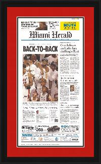 "Newspaper Frame. Miami Wins 2013 NBA Championship. Frame #691 Opaque Black 1 3/8"". Outer Mat All American Red, Inner Mat Black Belt.  Price $127.95 as configured"