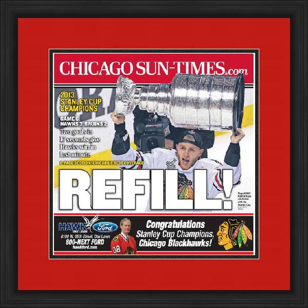 "Newspaper Frame. Chicago Wins 2013 Stanley Cup. Frame #803 Matte Black 1 1/8"". Outer Mat All American Red, Inner Mat Black Belt.  Price $85.95 as configured"