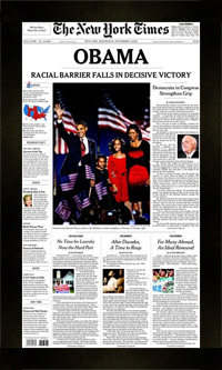 "Newspaper Frame. Obama New York Times Newspaper Frame. Frame #207 Matte Black 1 1/2"". Price $51.95 as configured"