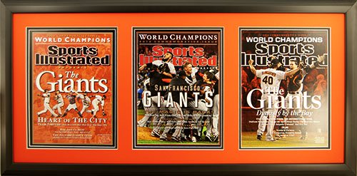 "Newspaper Display Picture Frame. Sports Illustrated Cover Reprints.  San Fransisco Wins 2010, 2012 and 2014 World Series. Frame #201 Matte Black 1 1/2"". Outer Mat Deep Orange, Inner Mat Black Belt."