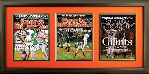 "Newspaper Display Picture Frame. San Fransisco Wins 2010, 2012 and 2014 World Series. Frame #201 Matte Black 1 1/2"". Outer Mat Deep Orange, Inner Mat Black Belt.  Price $175.95 as configured"